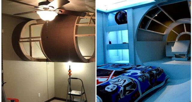 Eltern bauten ein echtes Raumschiff im Kinderzimmer. Quelle: Screenshot Youtube