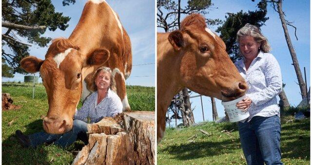 Joanne Vine und Bulle Big Moo. Quelle: Screenshot Youtube
