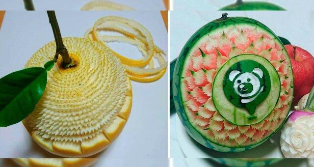 Schmuckverarbeitung von Obst und Gemüse. Quelle: prikolno.cc