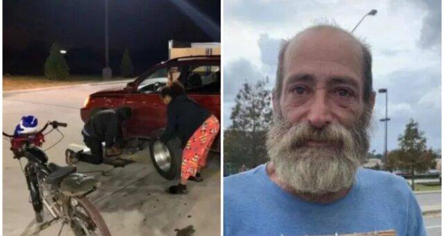 Obdachloser gab sein letztes Geld, um einer Fremden zu helfen. Quelle: Screenshot Youtube